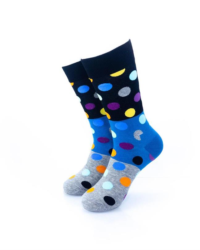 CoolDeSocks Big Dot 3 Gray Blue Socks front view image