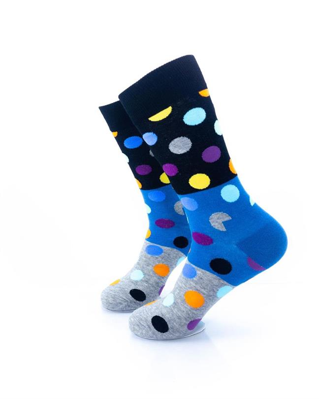 CoolDeSocks Big Dot 3 Gray Blue Socks left view image