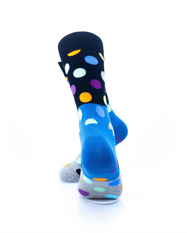 CoolDeSocks Big Dot 3 Gray Blue Socks rear view image