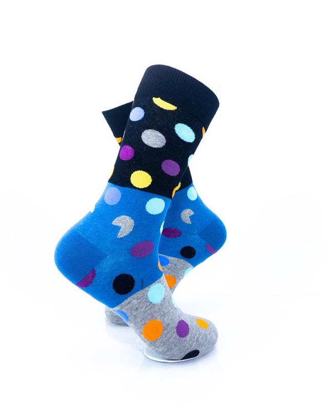 CoolDeSocks Big Dot 3 Gray Blue Socks right view image
