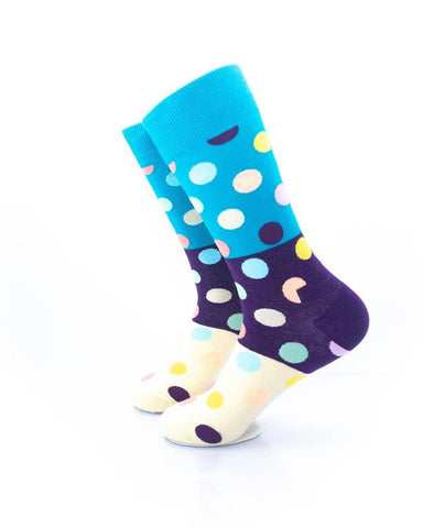 CoolDeSocks Big Dot 3 Ivory Purple Socks left view image