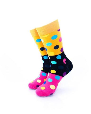 CoolDeSocks Big Dot 3 Pink Black Socks front view image