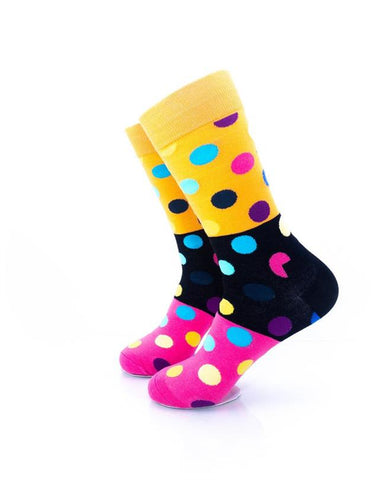 CoolDeSocks Big Dot 3 Pink Black Socks left view image