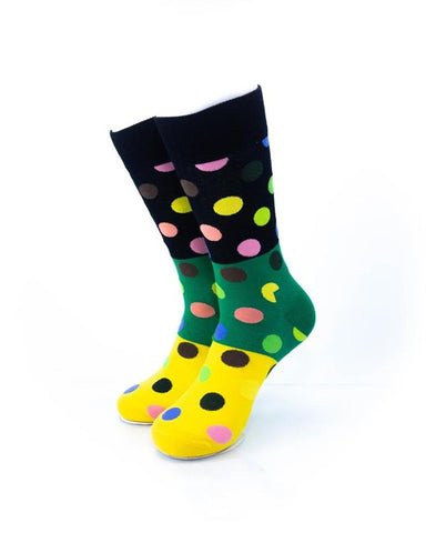 CoolDeSocks Big Dot 3 Yellow Green Socks front view image