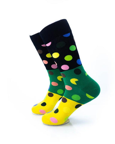 CoolDeSocks Big Dot 3 Yellow Green Socks left view image