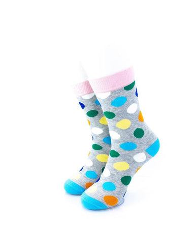 cooldesocks big dot gray pink quarter socks front view