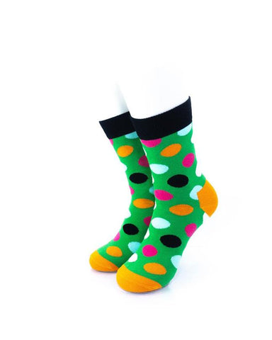 cooldesocks big dot green black quarter socks front view