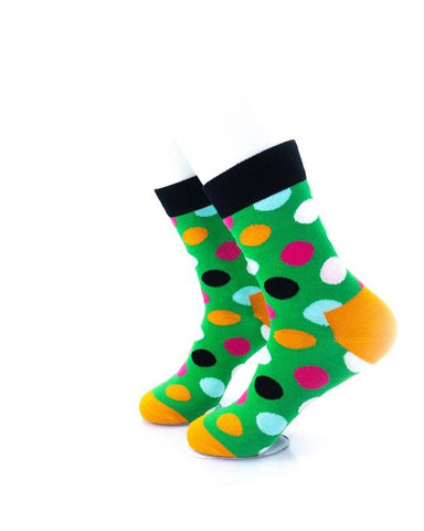 CoolDeSocks Big Dot Green Black Socks left view image