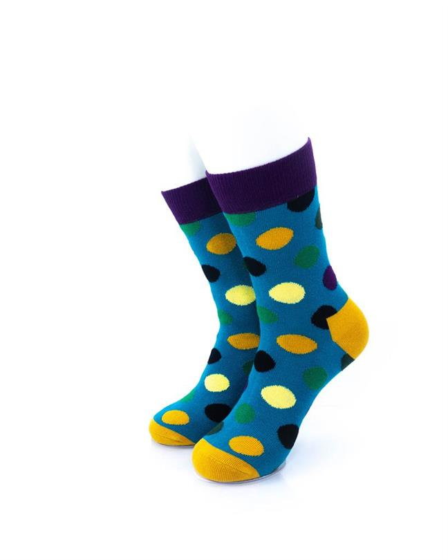 CoolDeSocks Big Dot Green Purple Socks front view image