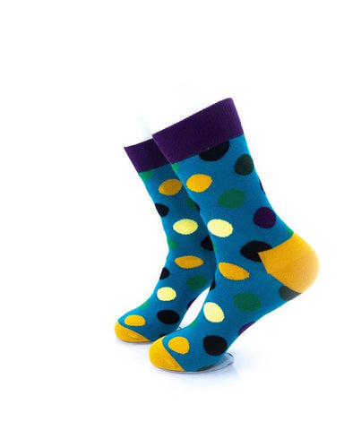CoolDeSocks Big Dot Green Purple Socks left view image