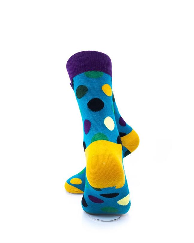 CoolDeSocks Big Dot Green Purple Socks rear view image