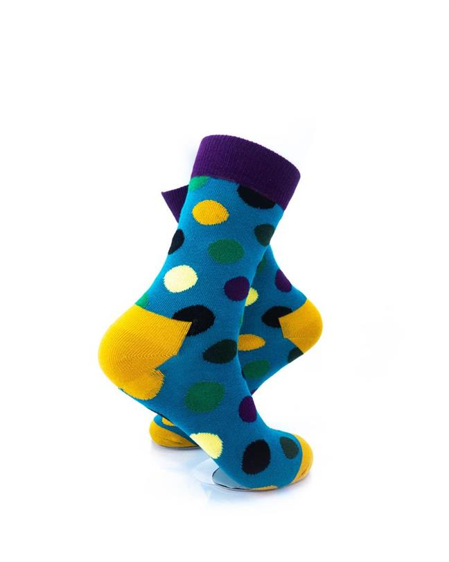 CoolDeSocks Big Dot Green Purple Socks right view image