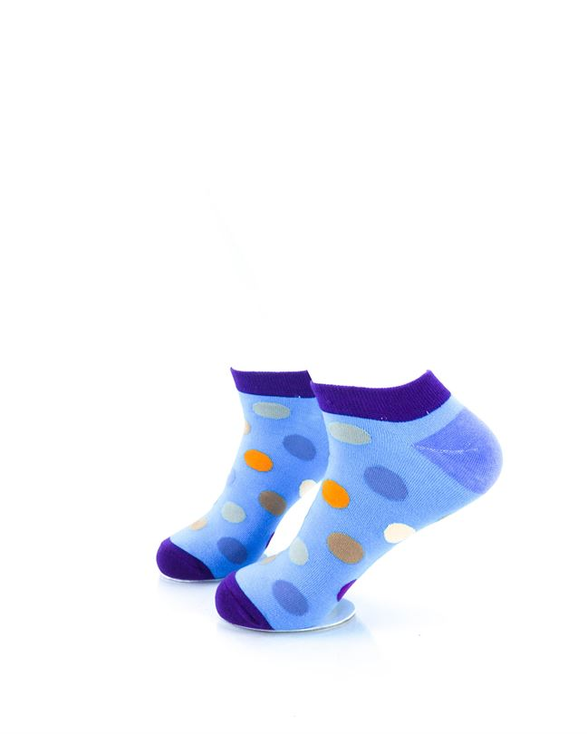 CoolDeSocks Big Dot Purple Blue Ankle Socks left view image