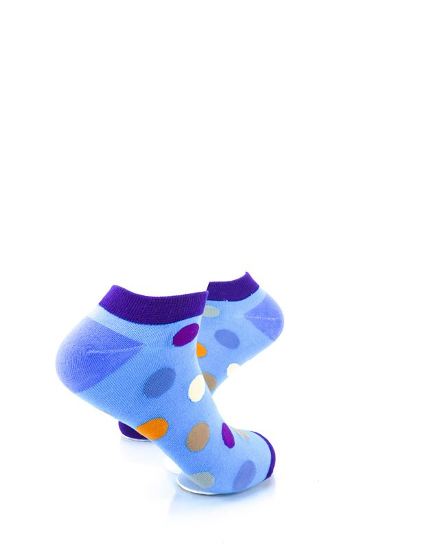 CoolDeSocks Big Dot Purple Blue Ankle Socks right view image