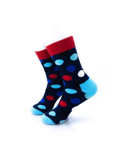 CoolDeSocks Big Dot Red Blue Socks left view image