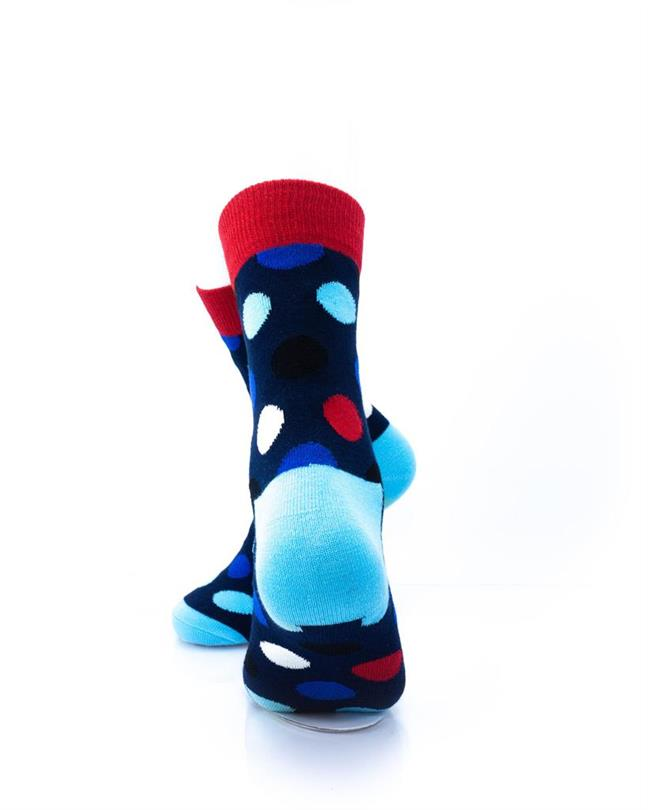 CoolDeSocks Big Dot Red Blue Socks rear view image