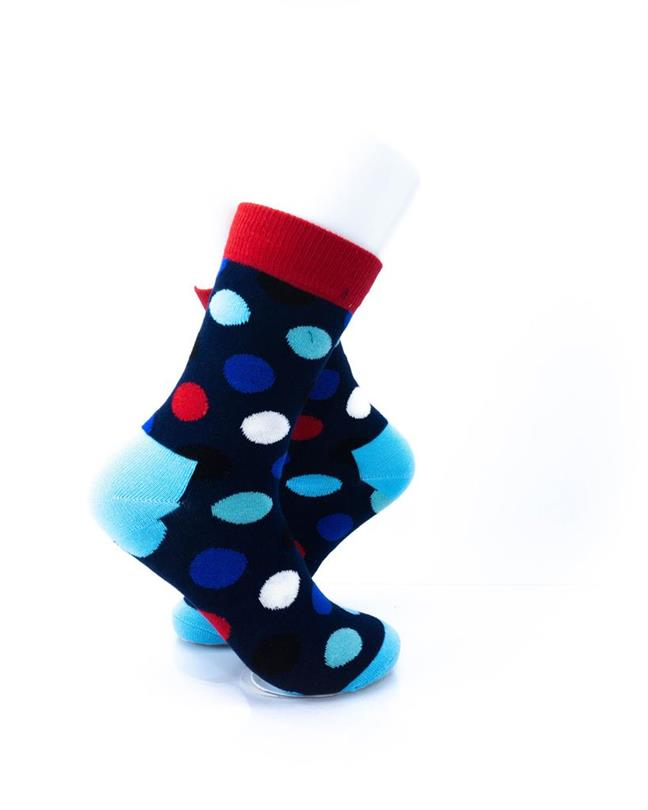 CoolDeSocks Big Dot Red Blue Socks right view image