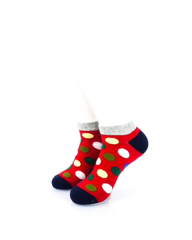 CoolDeSocks Big Dot Red Gray Ankle Socks front view image