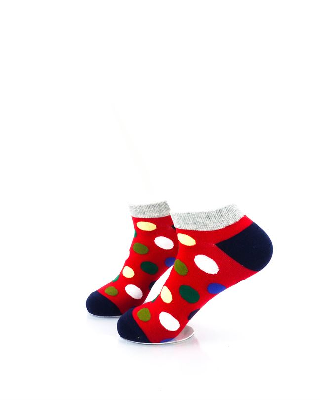 CoolDeSocks Big Dot Red Gray Ankle Socks left view image