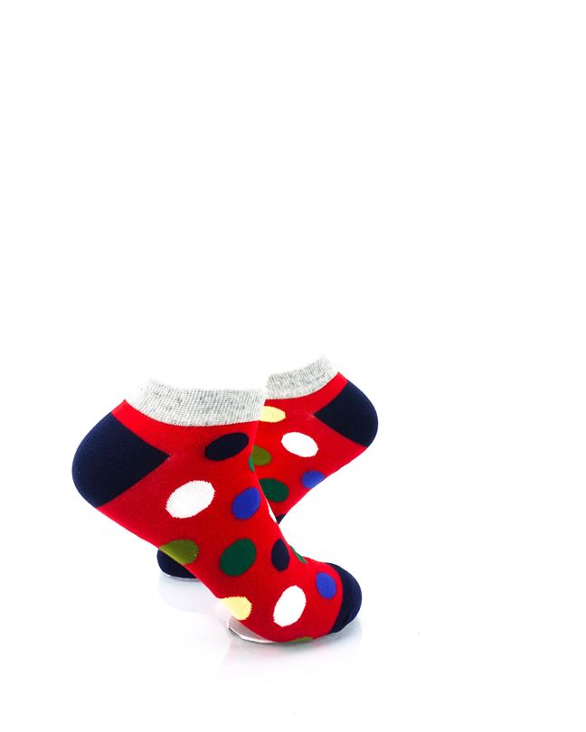 CoolDeSocks Big Dot Red Gray Ankle Socks right view image