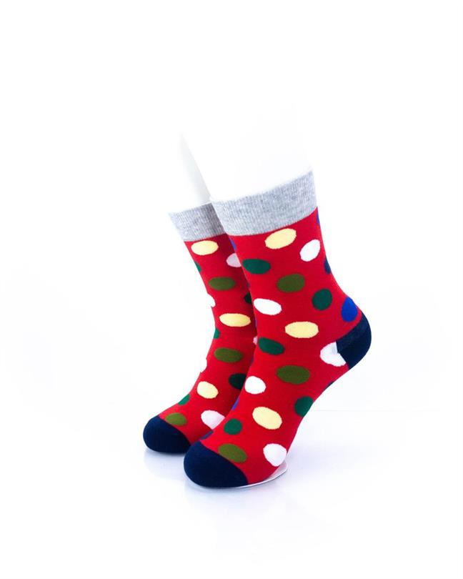 CoolDeSocks Big Dot Red Gray Socks front view image