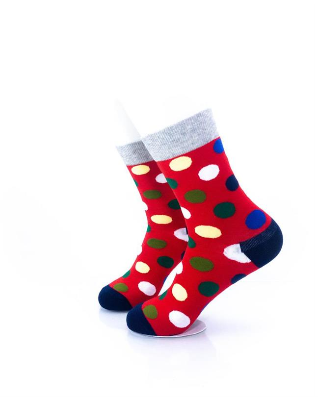 CoolDeSocks Big Dot Red Gray Socks left view image