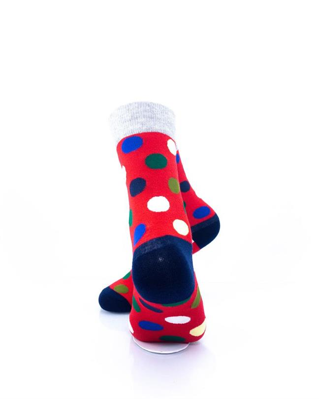 CoolDeSocks Big Dot Red Gray Socks rear view image