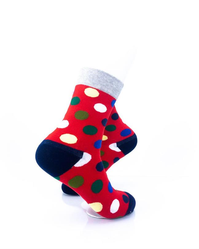 CoolDeSocks Big Dot Red Gray Socks right view image