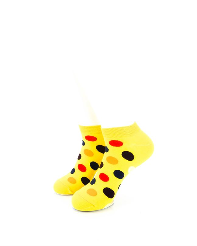 CoolDeSocks Big Dot Yellow Ankle Socks front view image