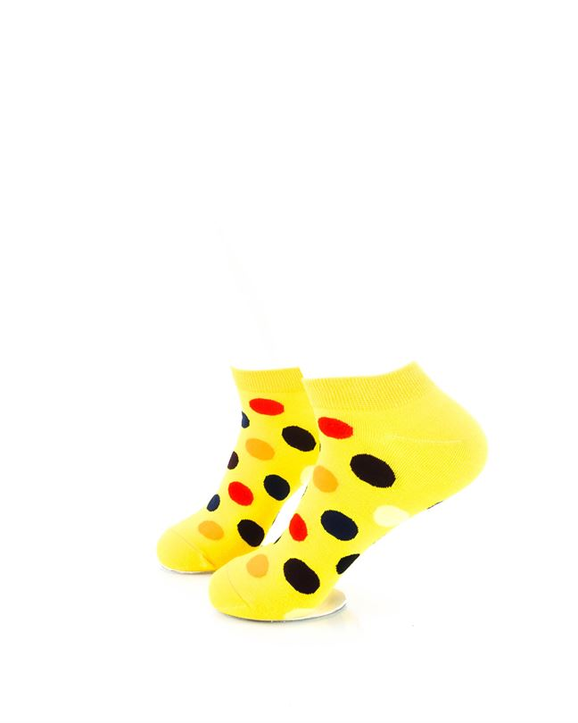 CoolDeSocks Big Dot Yellow Ankle Socks left view image