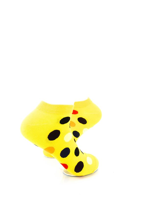 CoolDeSocks Big Dot Yellow Ankle Socks right view image