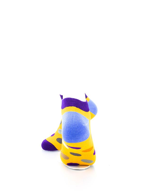 CoolDeSocks Big Dot Yellow Purple Ankle Socks rear view image