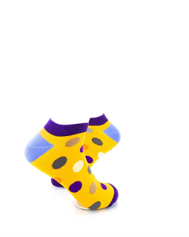 CoolDeSocks Big Dot Yellow Purple Ankle Socks right view image