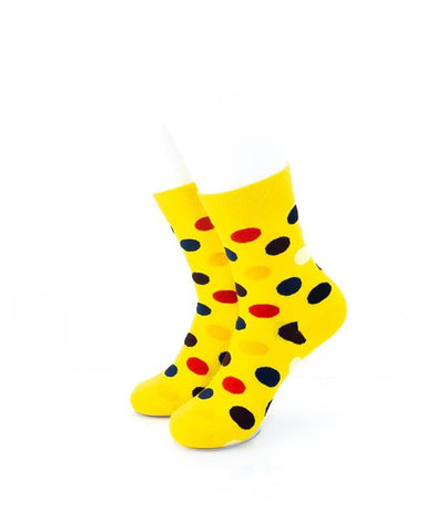 CoolDeSocks Big Dot (Yellow) Socks front view image