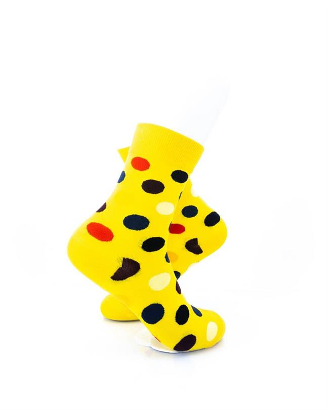 cooldesocks big dot_yellow_ quarter socks right view