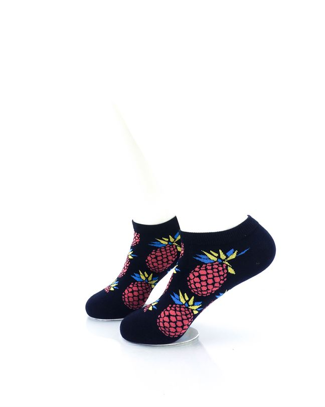 CoolDeSocks Big Pineapple Black Red Liner Socks left view image