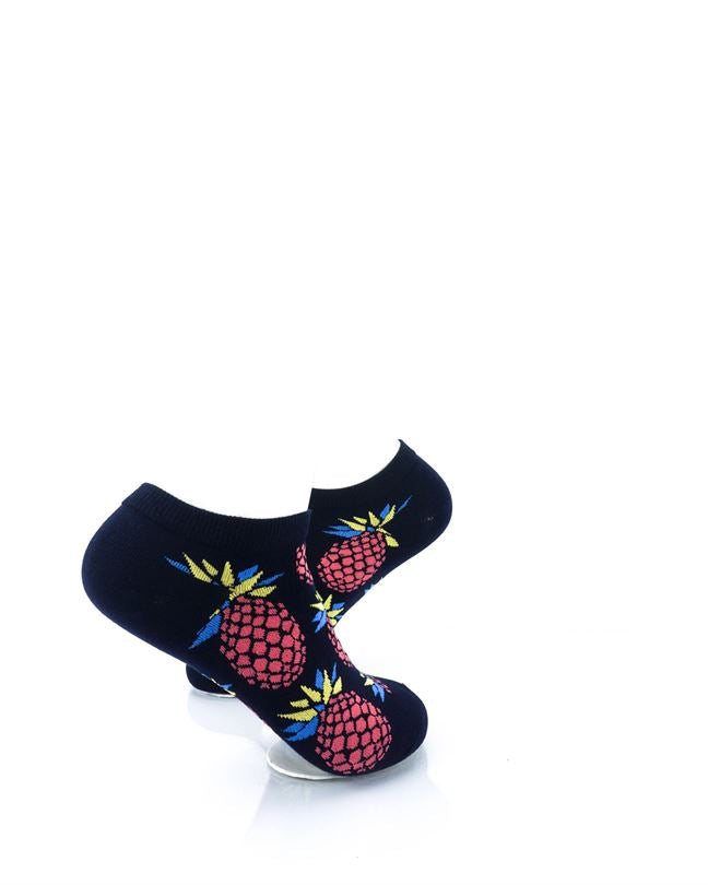 CoolDeSocks Big Pineapple Black Red Liner Socks right view image
