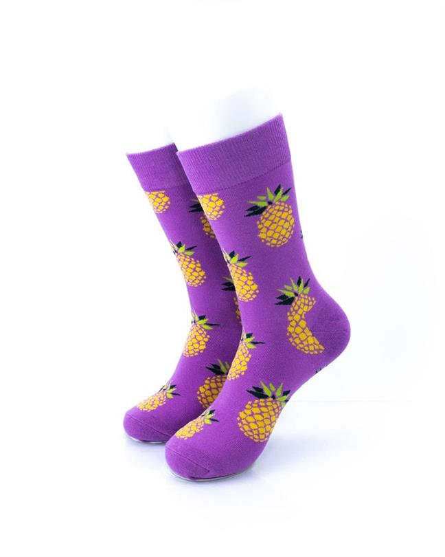 CoolDeSocks Big Pineapple Purple Gold Socks front view image