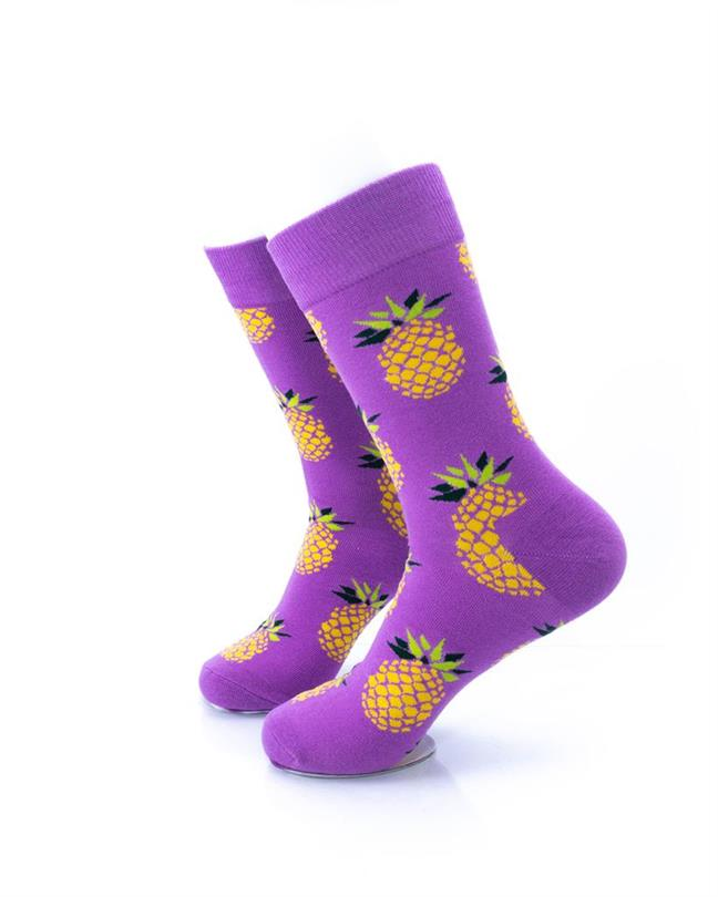 CoolDeSocks Big Pineapple Purple Gold Socks left view image