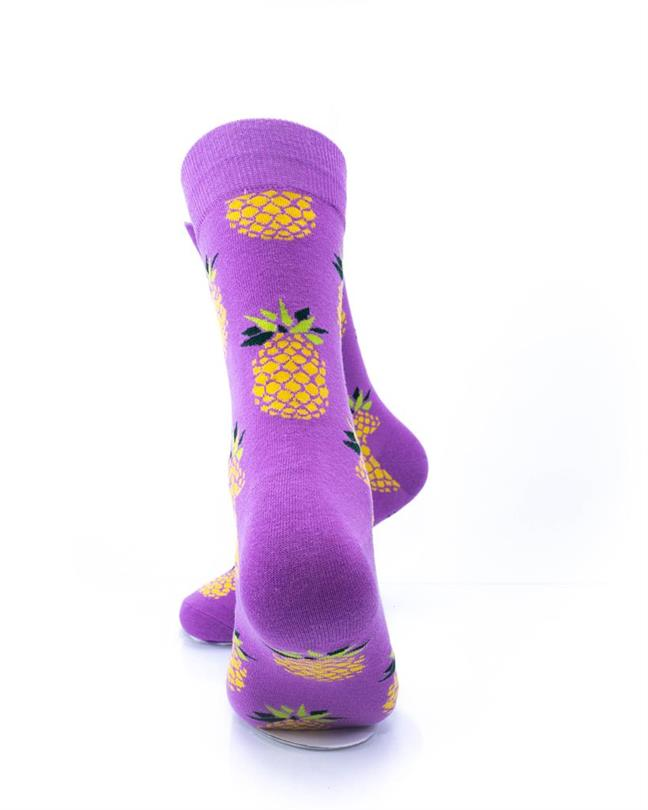 CoolDeSocks Big Pineapple Purple Gold Socks rear view image