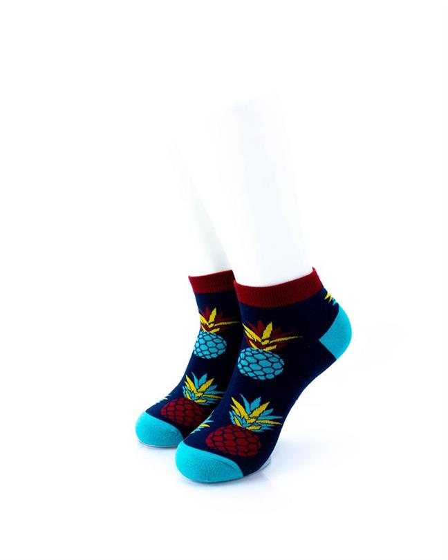 CoolDeSocks Big Pineapple Red Blue Socks front view image