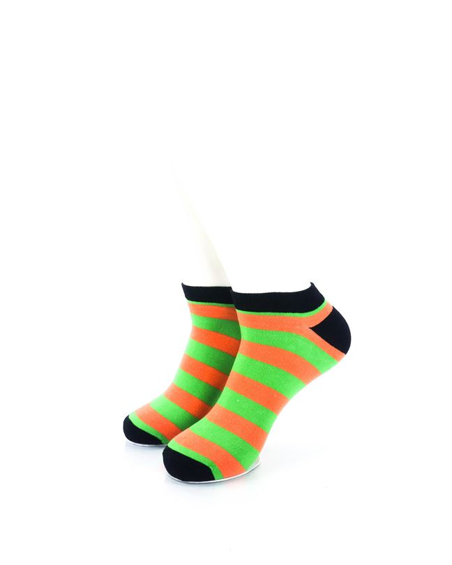 cooldesocks big stripe orange green ankle socks front view