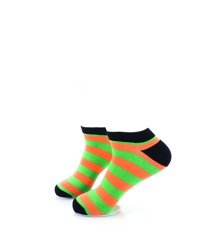 cooldesocks big stripe orange green ankle socks left view