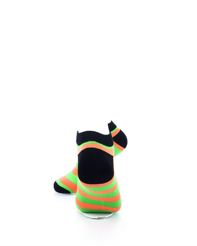 cooldesocks big stripe orange green ankle socks rear view