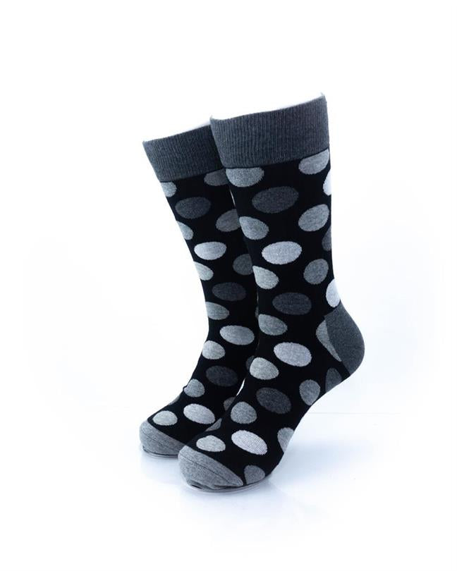 CoolDeSocks Black and White Big Dot Socks front view image