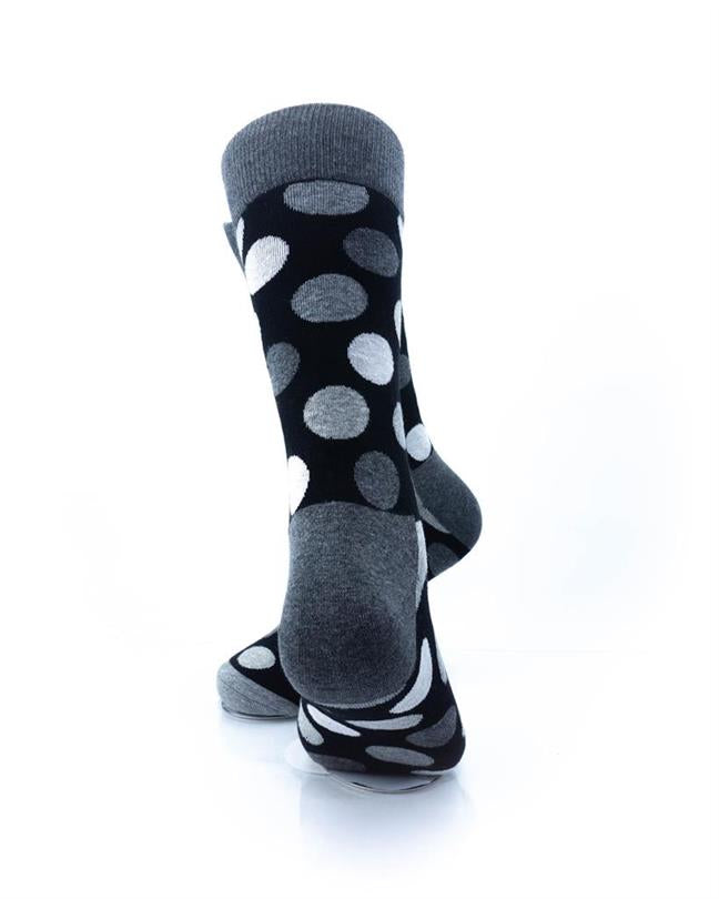 CoolDeSocks Black and White Big Dot Socks rear view image
