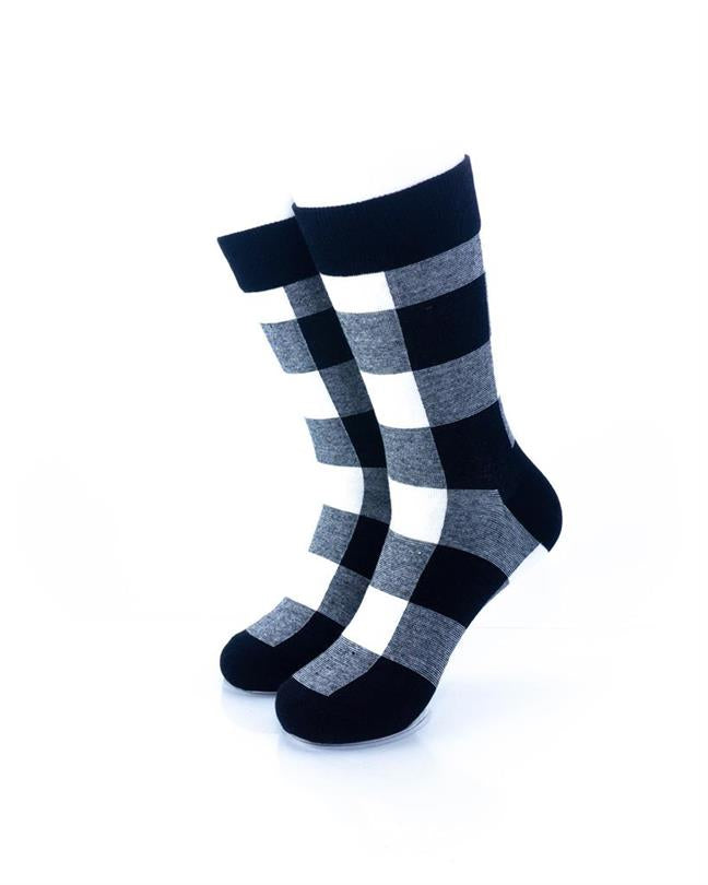 CoolDeSocks Black White Checkered Socks front view image