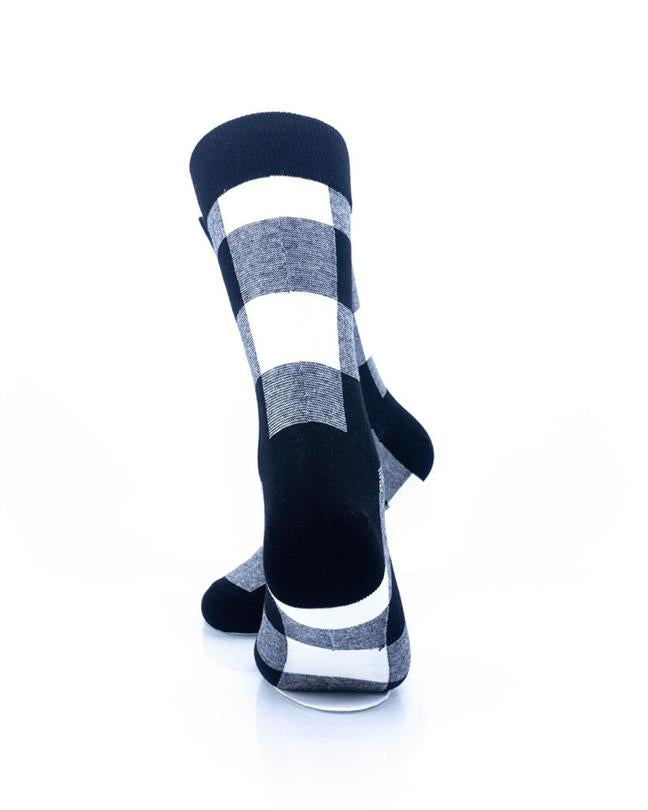 CoolDeSocks Black White Checkered Socks rear view image