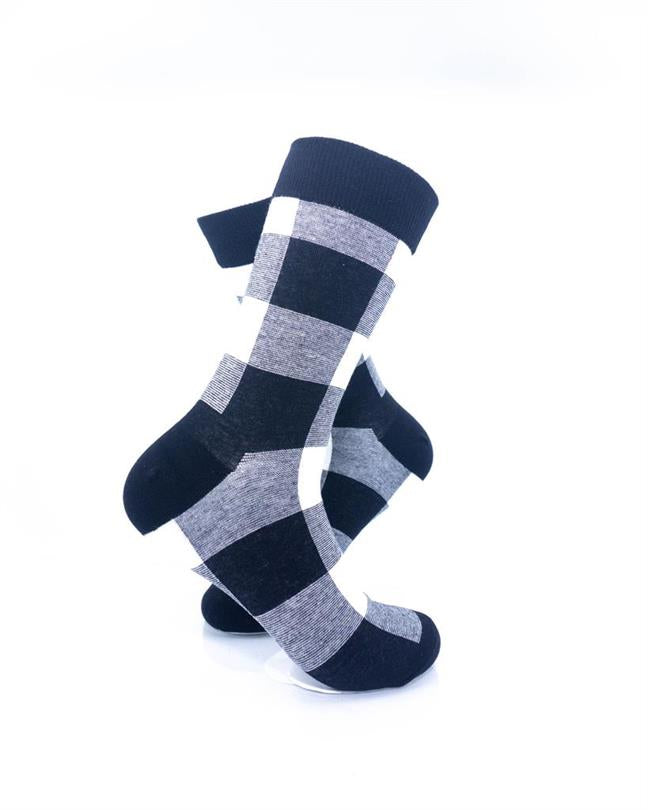 CoolDeSocks Black White Checkered Socks right view image