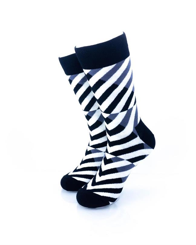 CoolDeSocks Black and White Diagonal Socks front view image
